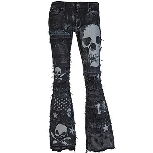 JOFOW Women Flare Jeans Punk Skull Stars Print Distressed High Rise Denim Tunic Bootcut Cool Long Bell Bottom Pants Plus Size (XL =US:16-18,Black) ()