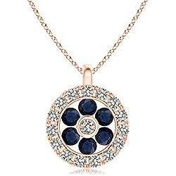 Channel-Set Sapphire Flower Pendant with Diamond Halo (1.5mm Blue Sapphire)