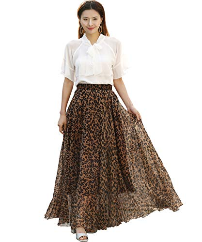 Medeshe Women's Chiffon Floral Print Elasticated Waist Maxi Skirt (Coffee Leopard Print, Small)