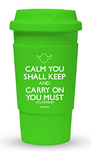 Funny Guy Mugs Calm You Shall Keep Carry On You Must Travel Tumbler With Removable Insulated Silicone Sleeve, Green, 16-Ounce