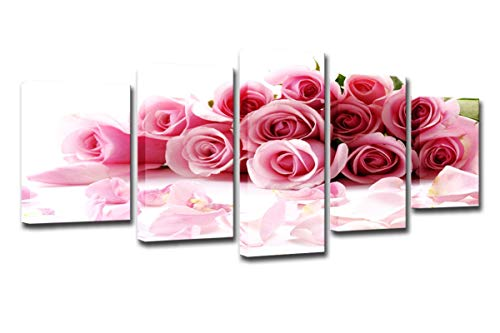 Mytinaart Art - Lily Flowers Paintings On Canvas Modern HD Prints Posters Home Decor Living Room Wall Art 5 Pieces Pink Roses Bouquet Painting Flowers Petal Pictures - with Framed Ready to Hang