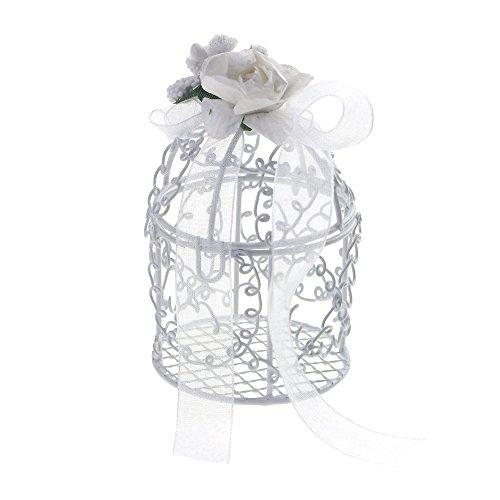 Homeford Mini Metal Swirl Birdcage with Flower Organza, 3-Inch, 12-Piece ()