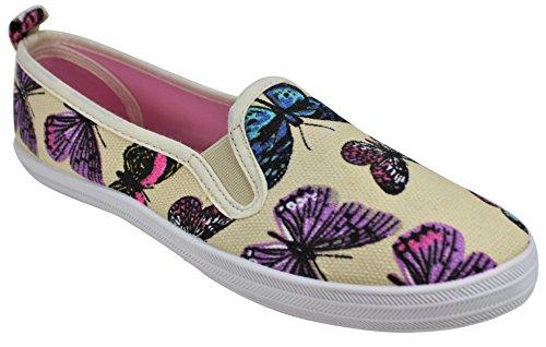 Womens Shoe A Fashion Walk Canvas Slip Take Butterfly Print on wU40nd