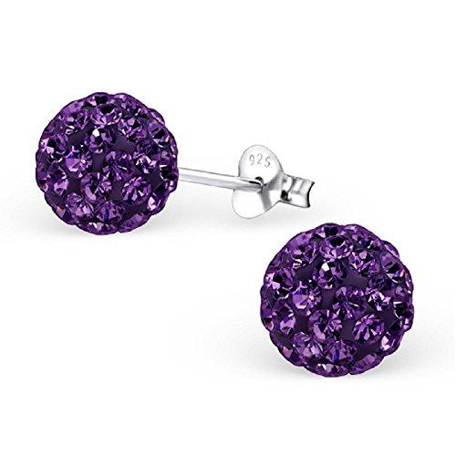 925 Sterling Silver 8mm Amethyst Purple Crystal Ball Stud Earrings 461
