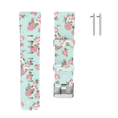 "Sodoop Replacement Band Compatible for Fitbit Versa 6.0""-8.8"", Women Soft Sport Silicone Floral Pattern Straps Bracelet Wristband for Fitbit Versa Smart Tracker"