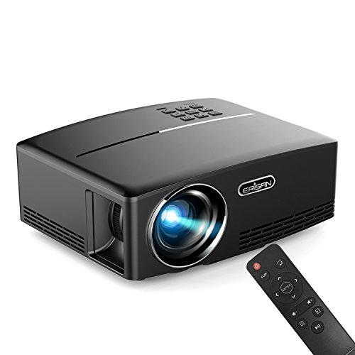 ERISAN Portable LED Projector, 1800 Lumens 180' for Outdoor Indoor Movie Night, Support Blu-Ray DVD Player, PC, Laptop, XBOX PS3 PS4 HD Games