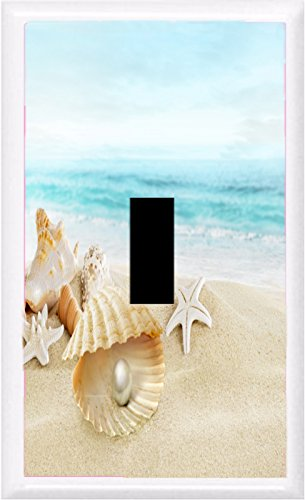 Got You Covered Seashells Starfish ON Tropical Sand Beach Light Switch Cover Plate (1X Toggle)