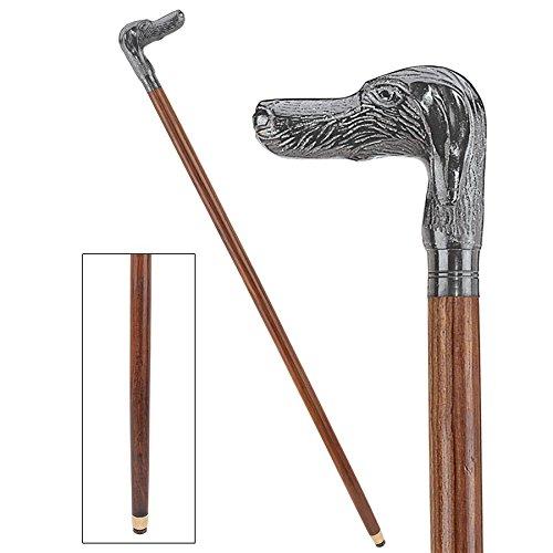 Design Toscano Hunting Dog Cast Metal Handle Hardwood Walking Stick
