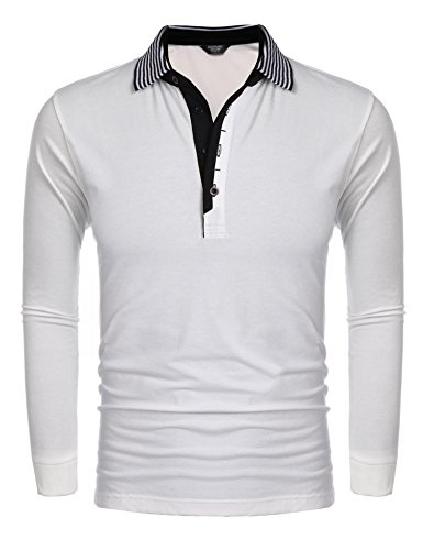027a4fb05 COOFANDY Men s Short Sleeve Polo Shirt Casual Striped Collar Classic Fit  Cotton T Shirts