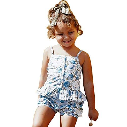 Two Setting Piece 18k - Outique Toddler Clothes Set Baby Girl Floral Halter Ruffled Outfits Set Strap Crop Tops+Short Pants 2 PCS Sky Blue