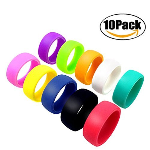 ThreeBulls Wedding Band Pack for Men Women Flexible Comfort Sport Love Ring Silicone Wedding Ring- Birthday or Anniversary Black red blue yellow pink sky blue white orange green purple Size (Marine White Ring)