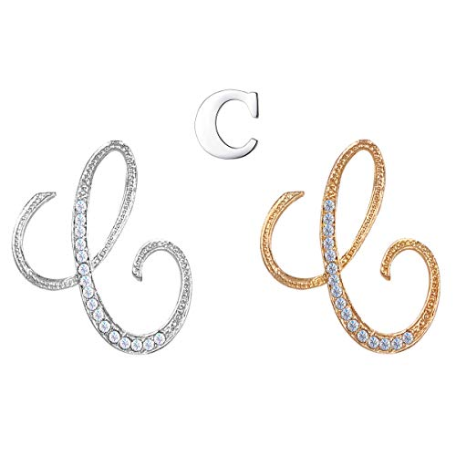 XGALA 3 Pcs Letters C Plated Metal Clear Crystal Lapel Pin Brooches Collar