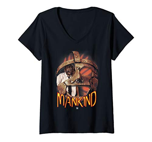 Womens WWE Mankind Mask  V-Neck T-Shirt -