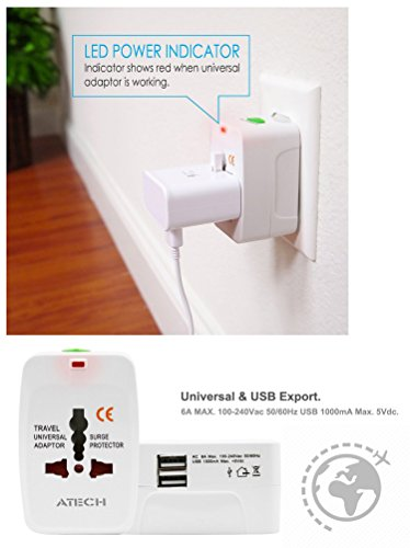 All in One Universal Travel Adapter Worldwide Power Plug Wall AC Adaptor Charger with Dual USB Charging Ports US EU UK AUS NZ AC100-240v Surge Protected Portable International Power Adapter by ATECH (Image #6)