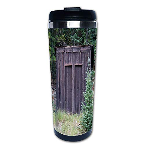 Stainless Steel Insulated Coffee Travel Mug,Door of Cottage Hut in Woodland Leaves Art Print,Spill Proof Flip Lid Insulated Coffee cup Keeps Hot or Cold 13.6oz(400 ml) Customizable printing -