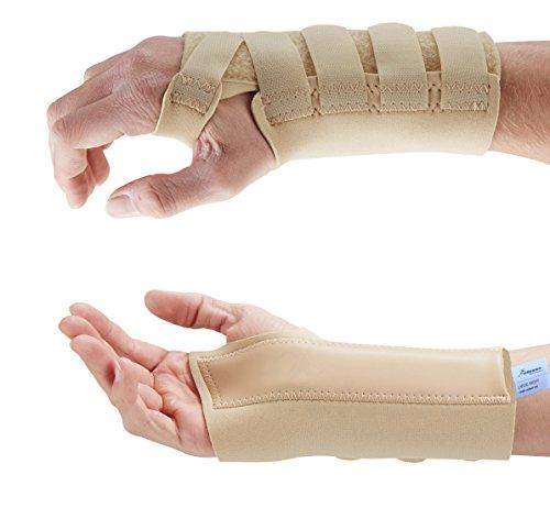 Actesso Beige Handgelenkbandage Handgelenkschiene für Karpaltunnelsyndrom, Zerrungen, Arthritis und Handgelenkschmerzen. Medizinisch bewährt (Mittelgroß, Links)