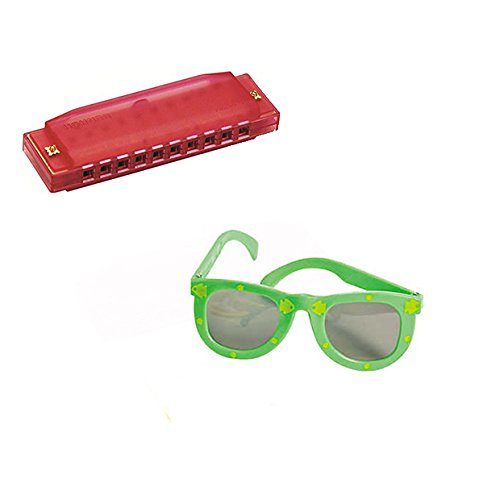 VBS Island Theme -Music 4 Pack W/Red Harmonicas & Kids' Fish Print Green Sunglasses