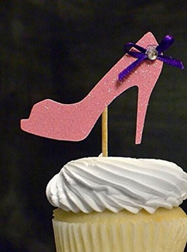 Various Fun Designs of Sexy Pole Dancers/High Heels/Corset/Champagne Glasses/Bride & Groom Cupcake Toppers for Birthday/Bridal Sower/Weddingd/Events/Party sets of 12… (Pink High Heel)
