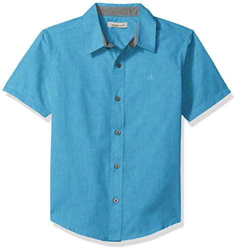 Calvin Klein Boys' Little Horizontal Chambray Short Sleeve Shirt, Ocean, 6
