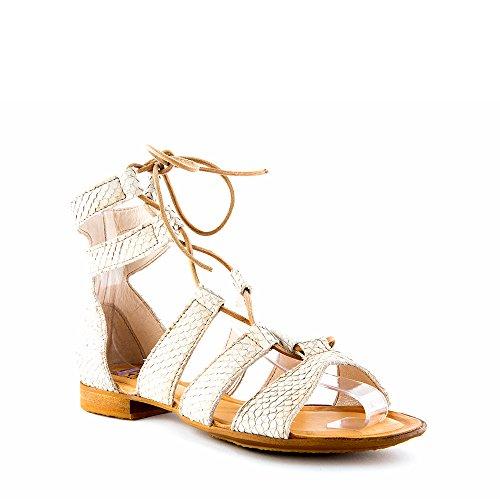 Felmini - Zapatos para Mujer - Enamorarse com Hera 9621 - Sandalias planas - Cuero Genuino - Beige - 0 EU Size Beige