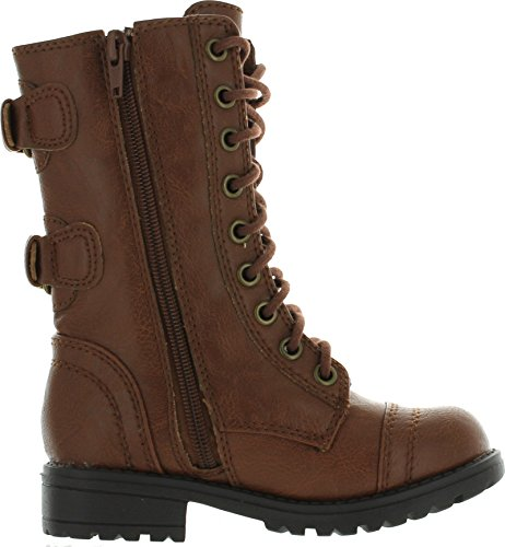 SODA Dome-2 Girls Kids Lace Up Military Combat Boots