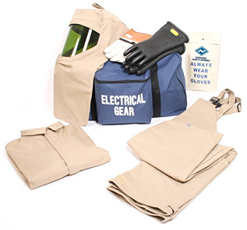 National Safety Apparel KIT4SC40ECXL10 ArcGuard Economy Arc Flash Kit with Short Coat and Bib Overall, 40 Calorie, X-Large/Glove Size 10, Khaki by National Safety Apparel Inc