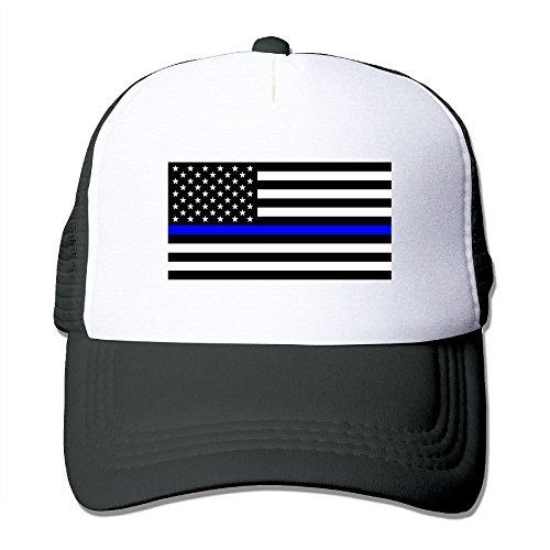 SUJV-T9 Hip-Hop Adult Unisex Blue Lives Matter Flag 100% Nylon Mesh Caps One Size Fits Most Adjustable Baseball Cap Black (John Adult Tee Black Apparel)