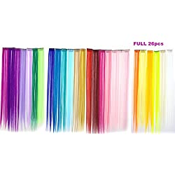 Yo-fobu [Full 26pcs] Highlights Color Clip Synthetic Hair Extensions Hairpiece Costume Wig for Cosplay Party Fancy Ball Dress (20 Inches)