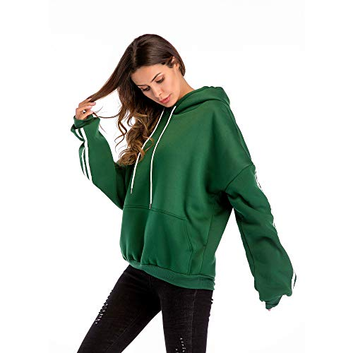 Plus Green L Donna Tinta Size Felpa Manica Oversize WUYEA Pullover Allentato Cappuccio Casual Lunga Unita con Z6B57qwnx