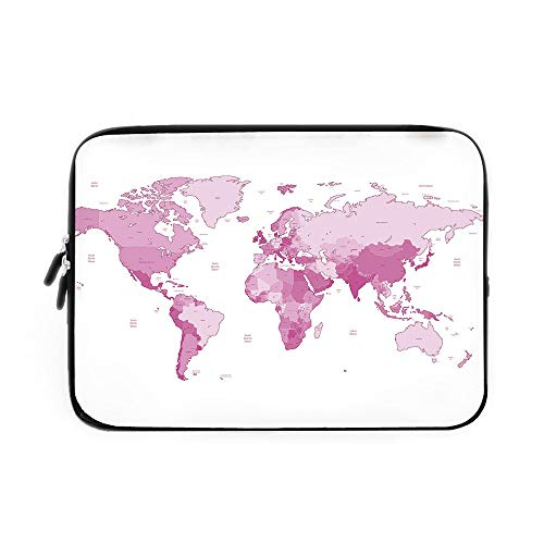 Swiss Army Atlas - Light Pink Laptop Sleeve Bag,Neoprene Sleeve Case/Cute World Map Continents Island Land Pacific Atlas Europe America Africa Decorative/for Apple MacBook Air Samsung Google Acer HP DELL Lenovo