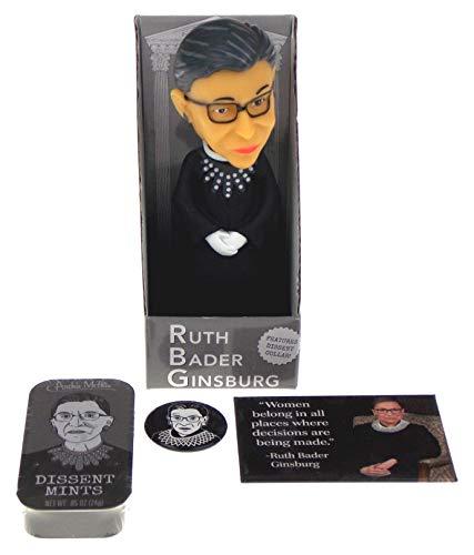 Hickoryville Ruth Bader Ginsburg Bundle - Nodder Bobblehead, Dissent Mints & 2 Magnets