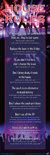 College Dorm Party House Rules Novelty Drinking Humor Poster Print