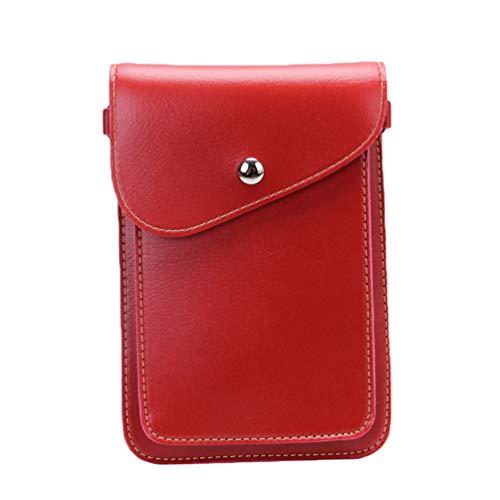 Mini della di Borsa Telefono Crossbody Kairuun Multifunzionale Rosso a PU Borsa del Cuoio Cellulare Tracolla pd4Wq
