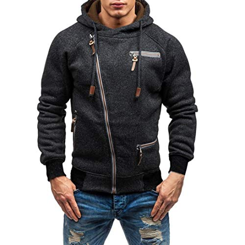 Caopixx Men's Autumn Winter Long Sleeve Coat Jacket Zipper Hooded Sweatshirt Outwear Tops Blouse by Caopixx Tops