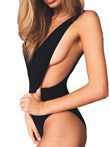 Women Backless Elastic Monokini Swimsuit Black - 9