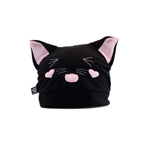 Pawstar Cat Ears Hat Kitty Loves You Fleece Embroidered Kawaii Animal Face - Black