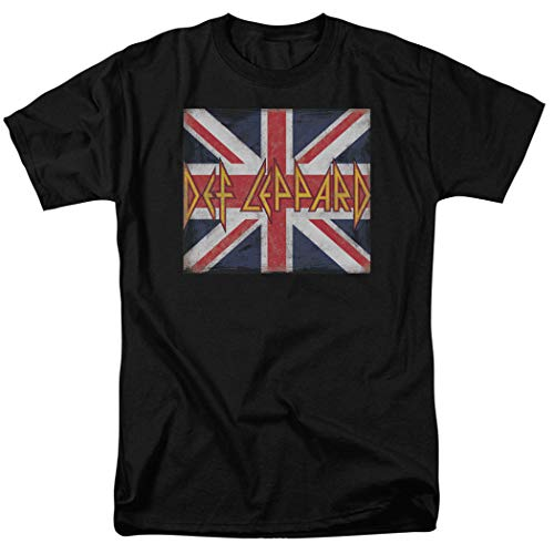 Def Leppard Union Jack - Def Leppard Logo Union Jack 80s Rock T Shirt (XX-Large) Black