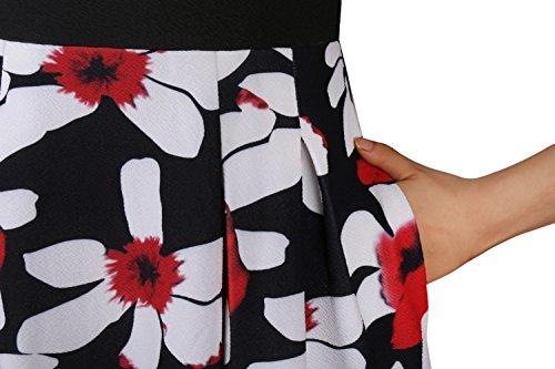 Torche Florale Vintage Femmes Benegreat Patchwork Cocktail Balançoire Bouffi Robe De Soirée Avec Des Poches Noires