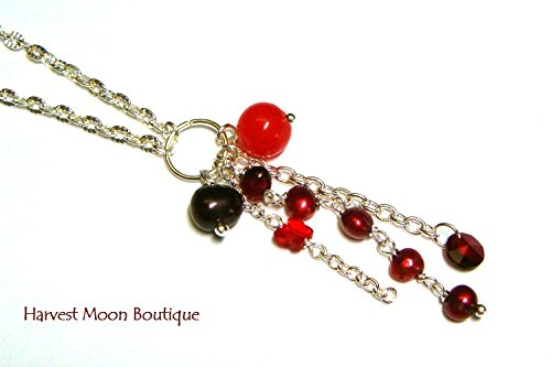 Red Cultured Pearl Swarovski Crystal Jade Cluster Necklace Silver Wedding Bridal Jewelry by Angie Pinkal