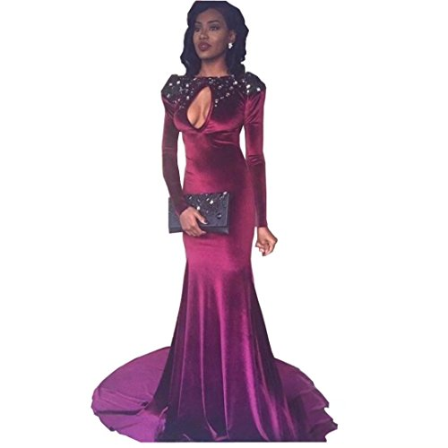 Chady Sexy Backless Long Sleeve Mermaid Burgundy Evening Dress New African Crystal Prom Dresses 2017 Long Party Gowns by Chady