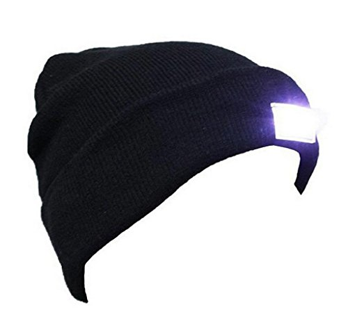 - VANCIC Ultra Bright 5 LED Hands Free Unisex Lighted Beanie Cap/Hat Power Stocking - 12000MCD of Flashlight for Outdoors Sports,Hunting, Camping, Grilling, Jogging, Fishing, Handyman Working (Black)