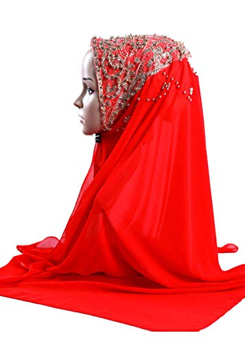 hositor Hats for Women, Shimmer Sparkle Gold Glitters Plain Chiffon Muslim Hijab Scarf Shawl Head ()