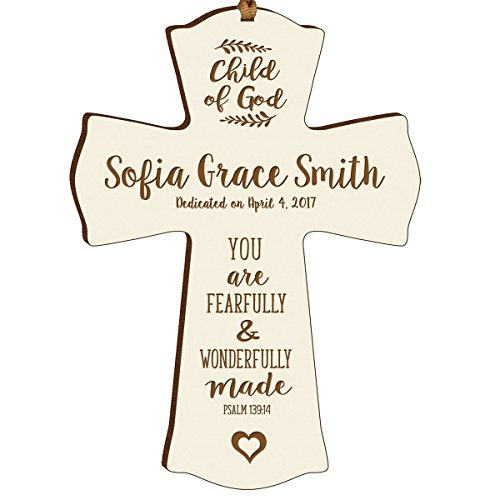 (LifeSong Milestones Personalized Baptism 1st Holy Communion Christening Gifts Custom Wall Cross Child of GOD Decoration You are Fearfully and Wonderfully Made Psalm 139:14 (Ivory))
