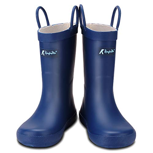 KomForme Kids Rain Boots, Waterproof Rubber Matte Boots with Reflective Stripes and Easy-on Handles Navy