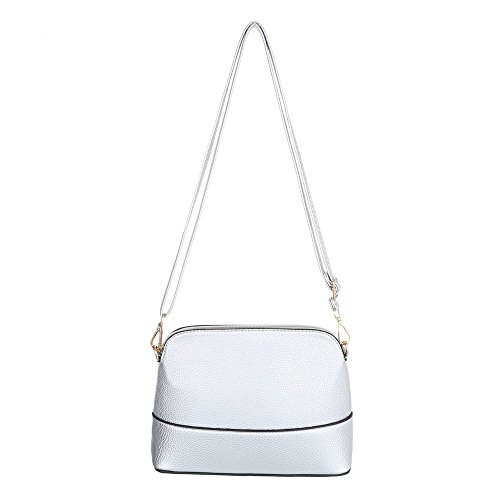 Ital-Design - Bolso al hombro para mujer plata
