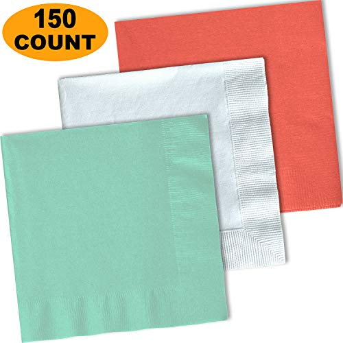 150 Lunch Napkins, Mint, Bright White, Coral - 50 Each Color. 2 Ply Paper Dinner Napkins. 6.5