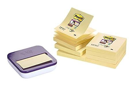 Post-it Super Sticky - Pack de 8 blocs Z-Notas, color Canary Yellow y dispensador, color m orado: Amazon.es: Oficina y papelería