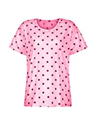 Polka Dot Loose-Fit Tees Tops for Women Crew Neck Short Sleeve Pullover Casual T-Shirts Basic Summer Low-Cut Blouses