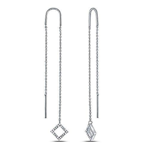 - 10kt White Gold Womens Round Diamond Threader Square Dangle Earrings 1/10 Cttw