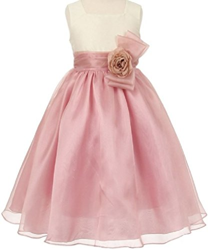Little Girls Two Tone Square Neck Corsage Special Flowers Girls Dresses